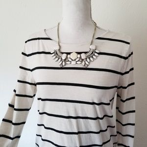 LOFT Wide Striped Long Sleeve Blouse Zipper Back